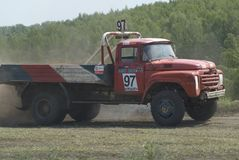 Trucks racing on unpaved track. Tyumen. Russia Royalty Free Stock Images