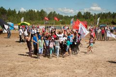 Russian army obstacle course race. Tyumen stock photography
