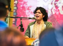 Bittu Mallick-artist of classical Indian music in the styles of Drupad, Dhamar, Khyal, Ghazal. Tyumen, Russia - June 15, 2019: Ethnofest `Heaven and Earth` stock photography
