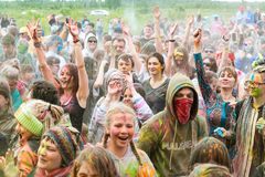 Indian festival of color Holi. Tyumen, Russia - June 16, 2019: Ethnofest `Heaven and Earth` - Annual All-Russian Cultural and Developing Ethno-Festival. Indian royalty free stock images