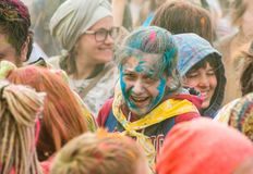 Indian festival of color Holi. Tyumen, Russia - June 16, 2019: Ethnofest `Heaven and Earth` - Annual All-Russian Cultural and Developing Ethno-Festival. Indian royalty free stock image