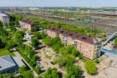 Voynovka railway node. Residential district.Tyumen stock photography