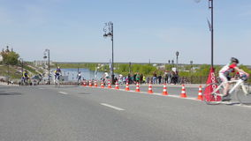 Tyumen, Russia - May 2016: Bicycle race on the highway stock video
