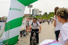 Sportsmen race on bicycles. Tyumen. Russia Stock Photo