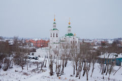 Tyumen, Russia - November 05.2016: Winter landscape with church Royalty Free Stock Images