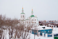 Tyumen, Russia - November 05.2016: Winter landscape with church Stock Images