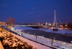 Tyumen, Russia - November 05.2016: Winter night landscape with a Royalty Free Stock Images