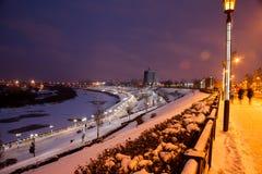 Tyumen, Russia - November 05.2016: Winter night landscape from Royalty Free Stock Image