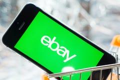 Tyumen, Russland - 12. Februar 2019: Logo von EBay-Firma stockbild