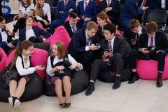 Tyumen, Russland, 10 11 2018 Forum von innovativen Technologien Kommunikationswissenschaftler, -politiker und -gesch?ftsm?nner Sc lizenzfreie stockfotografie