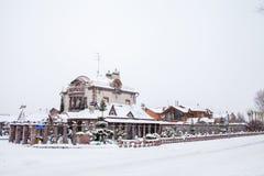 Tyumen, Russland - 6. November 2016: Winterlandschaft mit beautif Lizenzfreies Stockfoto