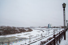 Tyumen, Russland - 5. November 2016: Winterlandschaft mit gefrorenem Stockbild