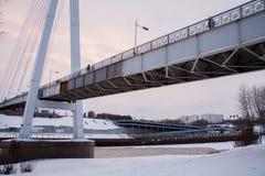 Tyumen, Russland - 5. November 2016: Winterlandschaft an Sonnenuntergang wi Lizenzfreie Stockfotografie