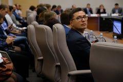 Tyumen Ryssland, 10 11 2018 Forum av innovativa teknologier Kommunikationsforskare, politiker och aff?rsm?n arkivfoton