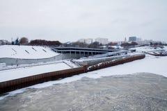 Tyumen Ryssland - November 05 2016: Vinterlandskap med riven Royaltyfri Bild