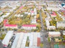 Tyumen stadsfjärdedelar från helikoptern Ryssland Fotografering för Bildbyråer
