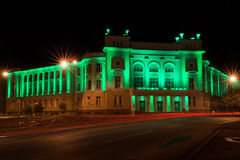 Tyumen State University of Civil Engineering. Tyumen, Russia - September 13 2016. Tyumen State University of Civil Engineering. Night view of the green building Royalty Free Stock Images