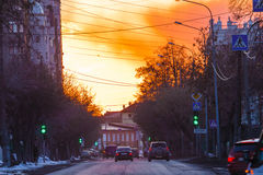 Tyumen. Sunset. Russian Siberia. Sunset in the Osipenko street. It is located near the historical and cultural center of Tyumen city Stock Photos
