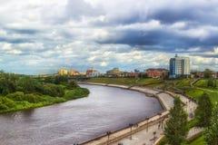 Tyumen top view river Russia  Siberia waterfront panorama Stock Photography