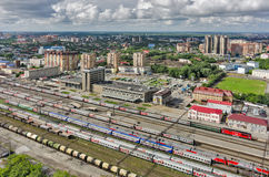 Tyumen train station. Aerial view. Russia Royalty Free Stock Images