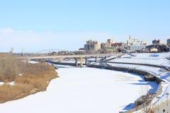Tyumen Tura Riverside Zentraler Bezirk von Tyumen stockbild