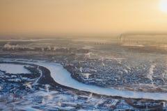 Tyumen w zimie, odgórny widok Zdjęcia Royalty Free