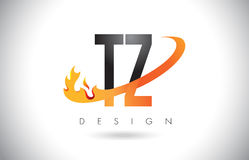 TZ T Z Letter Logo with Fire Flames Design and Orange Swoosh. TZ T Z Letter Logo Design with Fire Flames and Orange Swoosh Vector Illustration Royalty Free Stock Photography