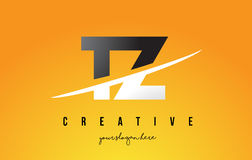 TZ T Z Letter Modern Logo Design with Yellow Background and Swoo Stock Photography