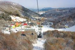 TZAHKADZOR ARMENIEN - JANUARI 3, 2014: Sikten på populärt skidar och klimatsemesterort ; Lokaliserat 50 km nord-öst av Yerevan Royaltyfria Foton