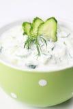 Tzatziki. Greek yogurt sauce with cucumbers, dill and garlic, known as tarator or snezhanka in Bulgaria or zaziki in Turkey. Shallow DOF Stock Photography