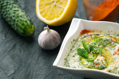 在石桌上的Tzatziki用水平黄瓜的柠檬和晒干 免版税库存图片