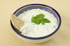 Tzatziki dip and brown bread Stock Images