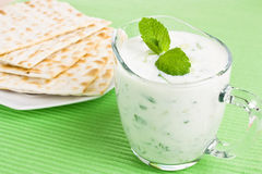 Tzatziki dip and matzo bread Royalty Free Stock Photography