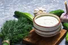 Tzatziki griego en un fondo gris, pepinos, ajo, eneldo de la salsa imagenes de archivo