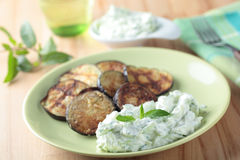 Tzatziki and roasted eggplant Stock Images