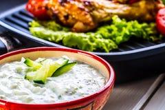 Tzatziki sås Tzatziki dressing Tzatziki dressing med grillad fega ben och ny grönsak, grönsallatblad och körsbärtomatoe Fotografering för Bildbyråer