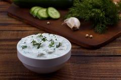 Tzatziki sauce and ingredients. Stock Image