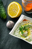 Tzatziki  on the stone table with cucumber , lemon and seasoning vertical Royalty Free Stock Photos