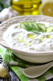 Tzatziki - traditional greek sauce. Stock Photo