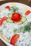 Tzatziki (tzadziki, tsatsiki) salad. With tomato,cucumbers and yogurt Royalty Free Stock Photo