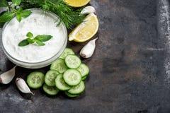 Tzatziki van de yoghurtsaus met komkommer, knoflook, dille Stock Afbeeldingen