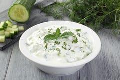 Tzatziki yoghurt och gurka Royaltyfri Foto
