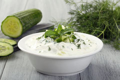 Tzatziki yogurt and cucumber Royalty Free Stock Photography