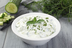 Tzatziki yogurt and cucumber Royalty Free Stock Photo