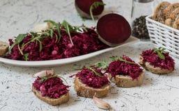 Tzatziky από το κόκκινο τεύτλο και το τυρί εξοχικών σπιτιών Διακοσμημένος με το φρέσκο arugula στοκ φωτογραφίες με δικαίωμα ελεύθερης χρήσης