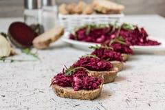 Tzatziky od czerwonego buraka i chałupa sera Dekorujący z świeżym arugula Fotografia Royalty Free
