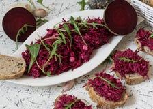 Tzatziky od czerwonego buraka i chałupa sera Dekorujący z świeżym arugula Obraz Stock