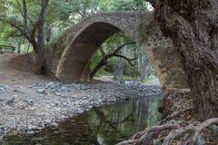 Tzelefos古老威尼斯式桥梁,在Troodos山,塞浦路斯的海岛 免版税库存图片