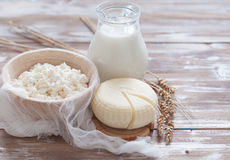 Tzfat乳酪、牛奶、酸奶干酪和麦子 库存图片