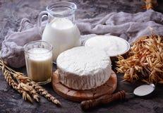 Tzfat ost, mjölkar och vetekorn Symboler av judaic ferie S royaltyfria foton